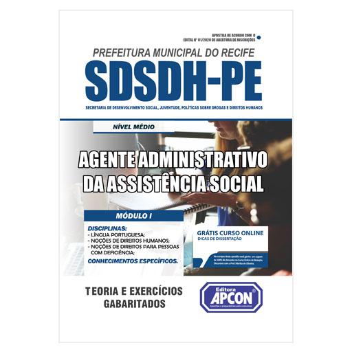 Apostila SDSDH-PE Recife 2020 - Agente Administrativo da Assistência Social